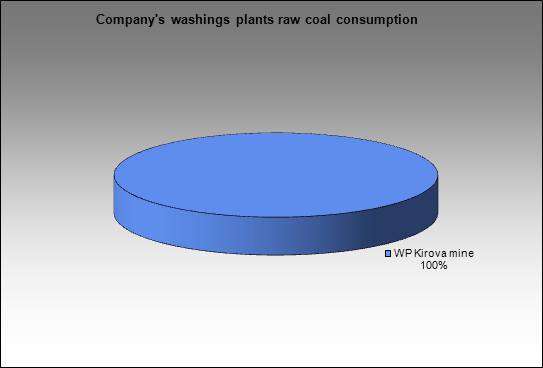 SUEK - Company's washings plants raw coal consumption