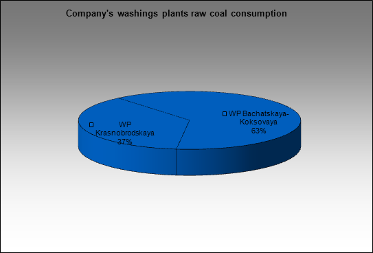 Kuzbassrazrezugol - Company's washings plants raw coal consumption