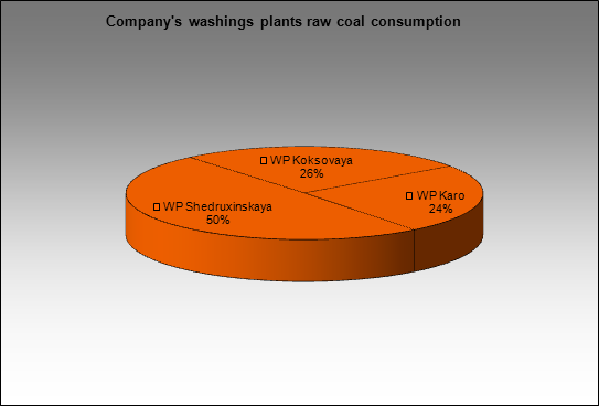 TopProm - Company's washings plants raw coal consumption